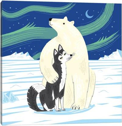 The Polar Bear And The Husky Canvas Art Print