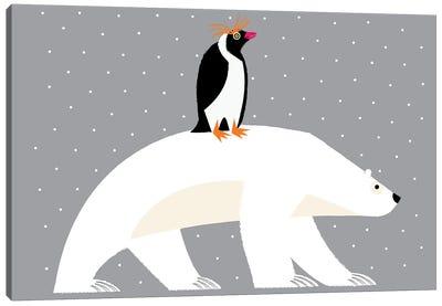 The Polar Bear And The Penguin Canvas Art Print