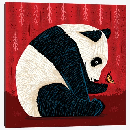The Panda And The Butterfly - red version Canvas Print #OLV76} by Oliver Lake Canvas Wall Art