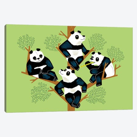 The Pondering Pandas Canvas Print #OLV77} by Oliver Lake Canvas Wall Art