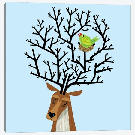 The Tree Stag And The Green Finch Canvas Print #OLV81} by Oliver Lake Canvas Wall Art