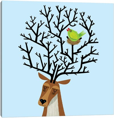 The Tree Stag And The Green Finch Canvas Art Print