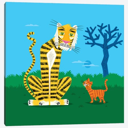 The Tiger And The Tomcat Canvas Print #OLV88} by Oliver Lake Canvas Wall Art