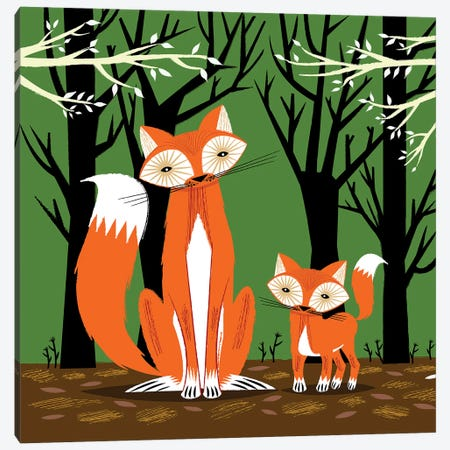 Two Fine Foxes Canvas Print #OLV90} by Oliver Lake Art Print