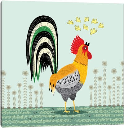 When The Rooster Crows Canvas Art Print