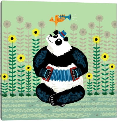 Panda Piazzolla And The Trumpet Bird Canvas Art Print