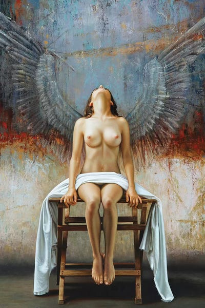 ANGEL NUDE GIRL PANORAMIC CANVAS PRINT PICTURE WALL ART VARIETY OF SIZES