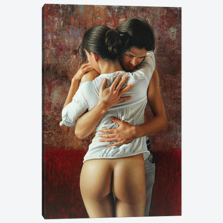 The Hug Canvas Print #OMO68} by Omar Ortiz Canvas Wall Art