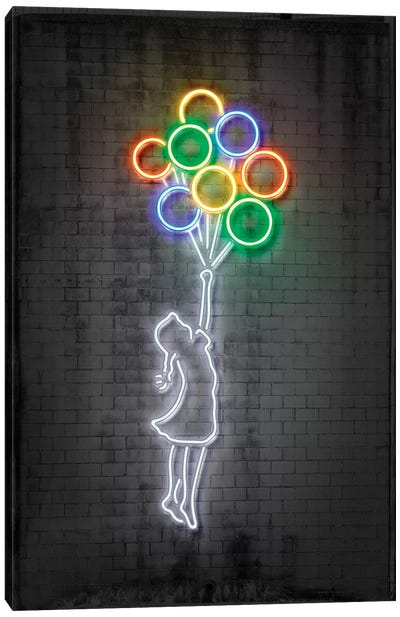 Neon Luminosity Series: Flying Balloons Girl Canvas Art Print