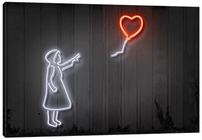 Neon Luminosity Series: Girl With A Balloon Canvas Art Print