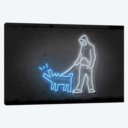 Haring Dog Canvas Print #OMU107} by Octavian Mielu Canvas Wall Art