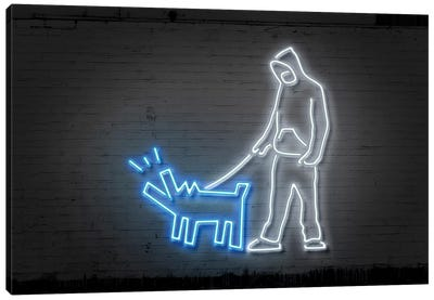 Neon Luminosity Series: Haring Dog Canvas Art Print