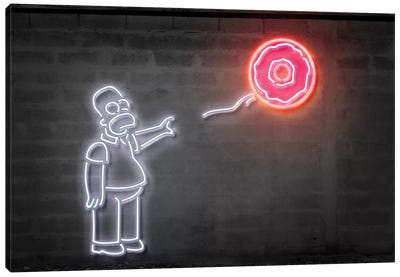 Neon Luminosity Series: Homer With A Balloon Canvas Art Print