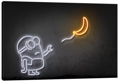 Neon Luminosity Series: Minion With A Balloon Canvas Print #OMU113