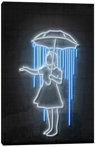 Neon Luminosity Series: Nola Girl With Umbrella Canvas Art Print