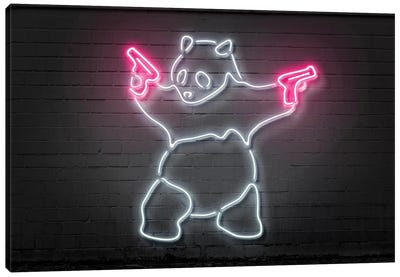 Neon Luminosity Series: Panda With Guns Canvas Art Print