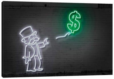 Neon Luminosity Series: Rich Uncle Pennybags (aka Mr. Monopoly) With A Balloon Canvas Art Print