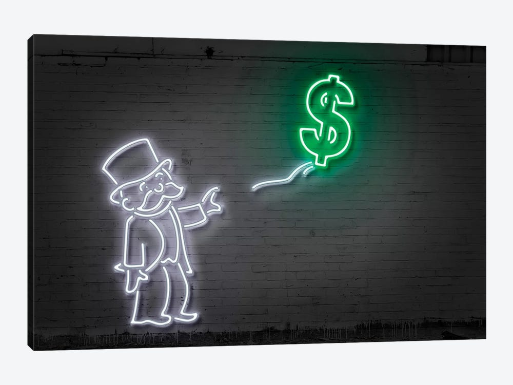 Rich Uncle Pennybags (aka Mr. Monopoly) With A Balloon by Octavian Mielu 1-piece Canvas Art