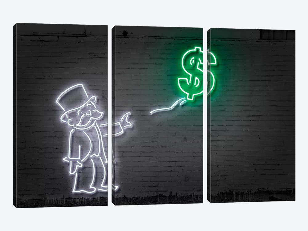 Rich Uncle Pennybags (aka Mr. Monopoly) With A Balloon by Octavian Mielu 3-piece Canvas Art