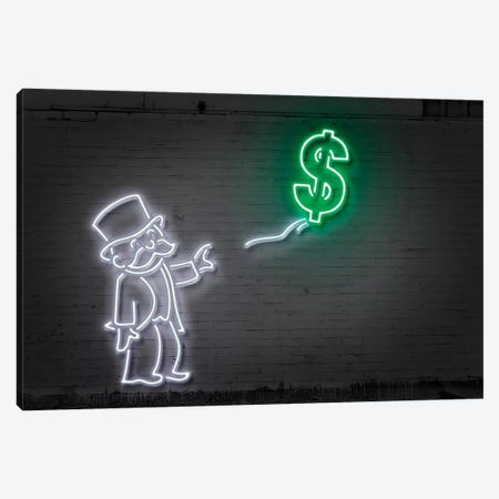 Rich Uncle Pennybags (aka Mr. Monopoly) With A Balloon Canvas Print #OMU121} by Octavian Mielu Art Print