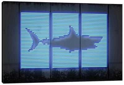 Neon Luminosity Series: Shark Canvas Art Print