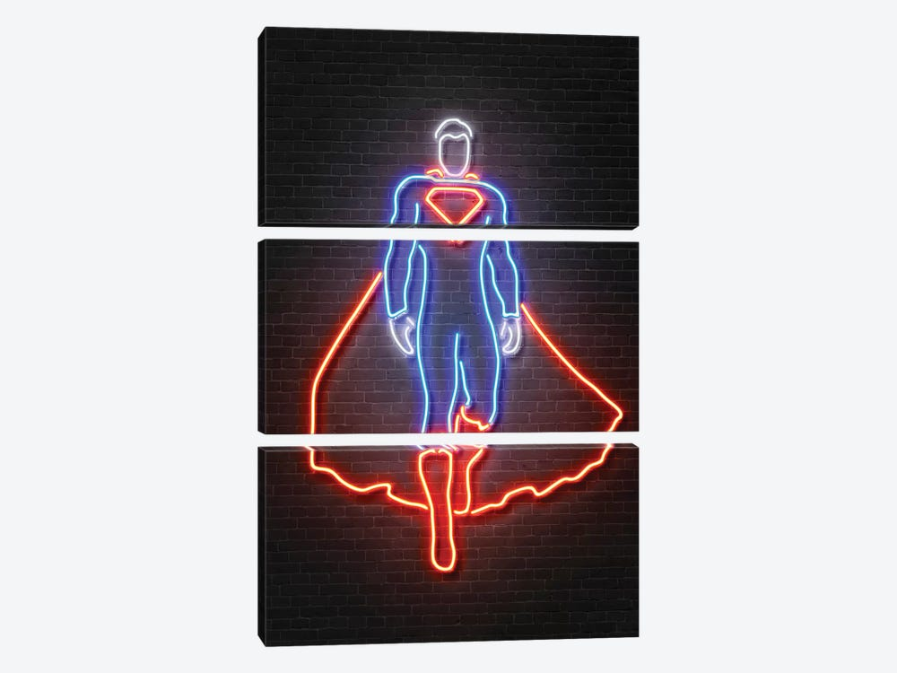 Superman by Octavian Mielu 3-piece Canvas Art Print