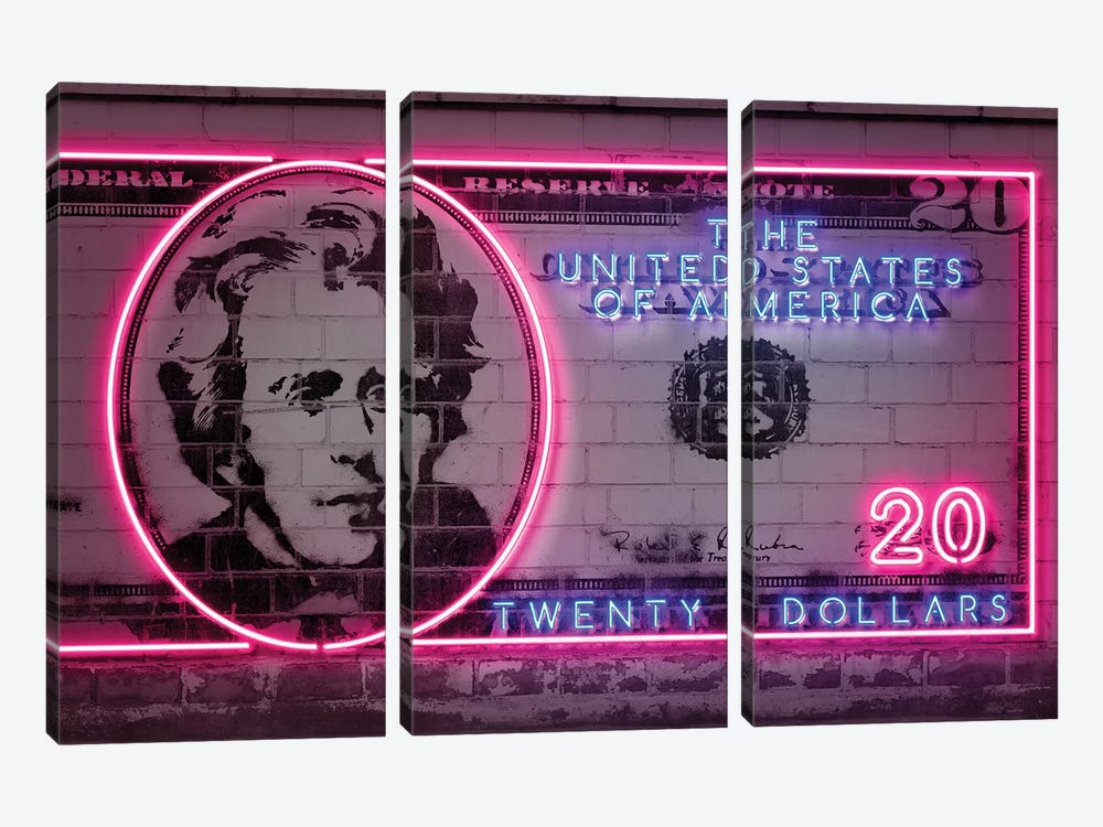 20 Dollars by Octavian Mielu 3-piece Canvas Art