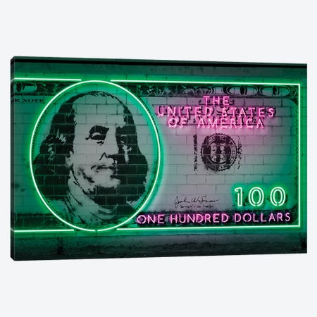 100 Dollars Canvas Print #OMU129} by Octavian Mielu Art Print