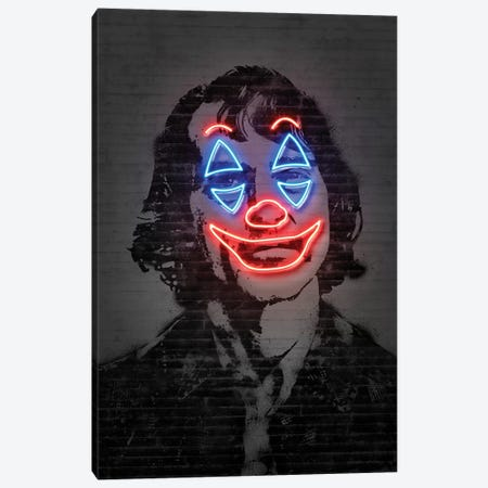 Joker Neon Canvas Print #OMU191} by Octavian Mielu Canvas Wall Art