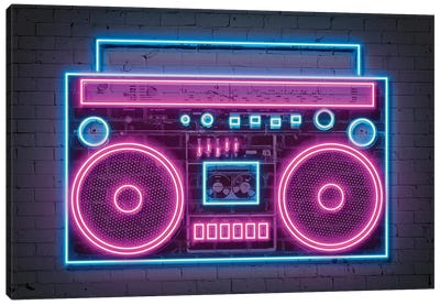 Boombox Neon Canvas Art Print