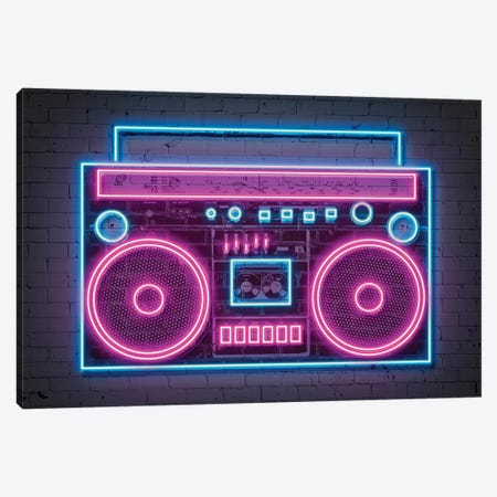 Boombox Neon Canvas Print #OMU214} by Octavian Mielu Canvas Art