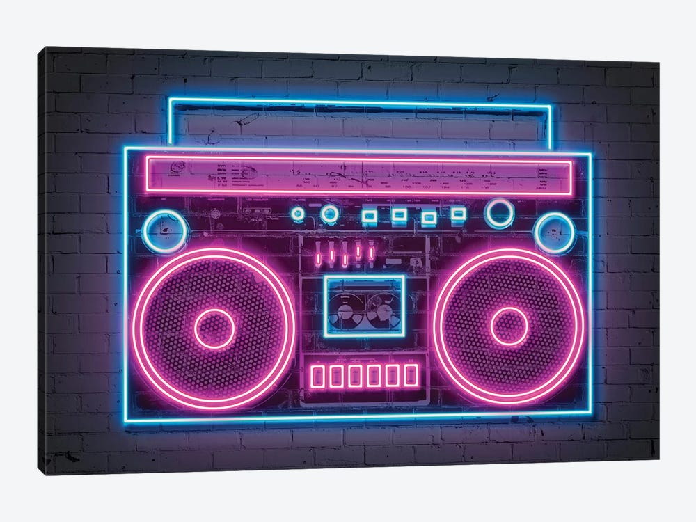 Boombox Neon by Octavian Mielu 1-piece Canvas Artwork