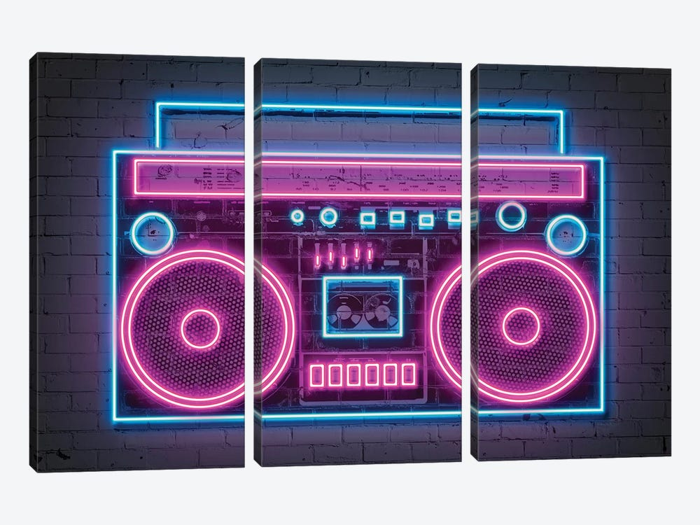 Boombox Neon by Octavian Mielu 3-piece Canvas Art