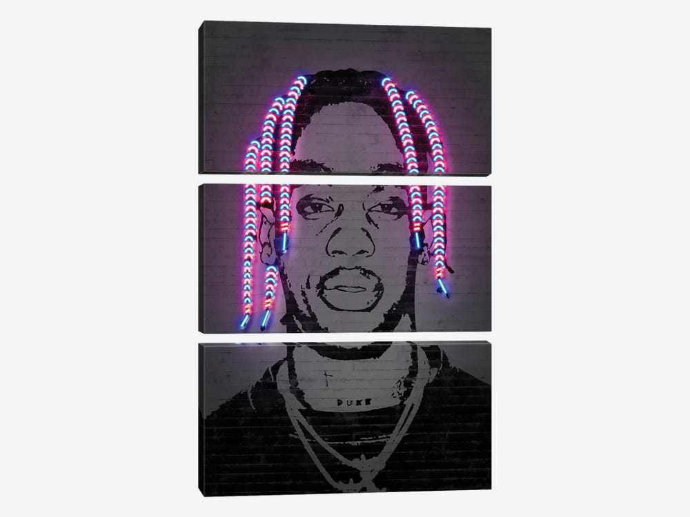 Travis Scott by Octavian Mielu 3-piece Canvas Art Print