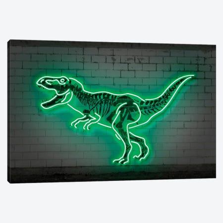 T-Rex Neon Canvas Print #OMU236} by Octavian Mielu Canvas Art