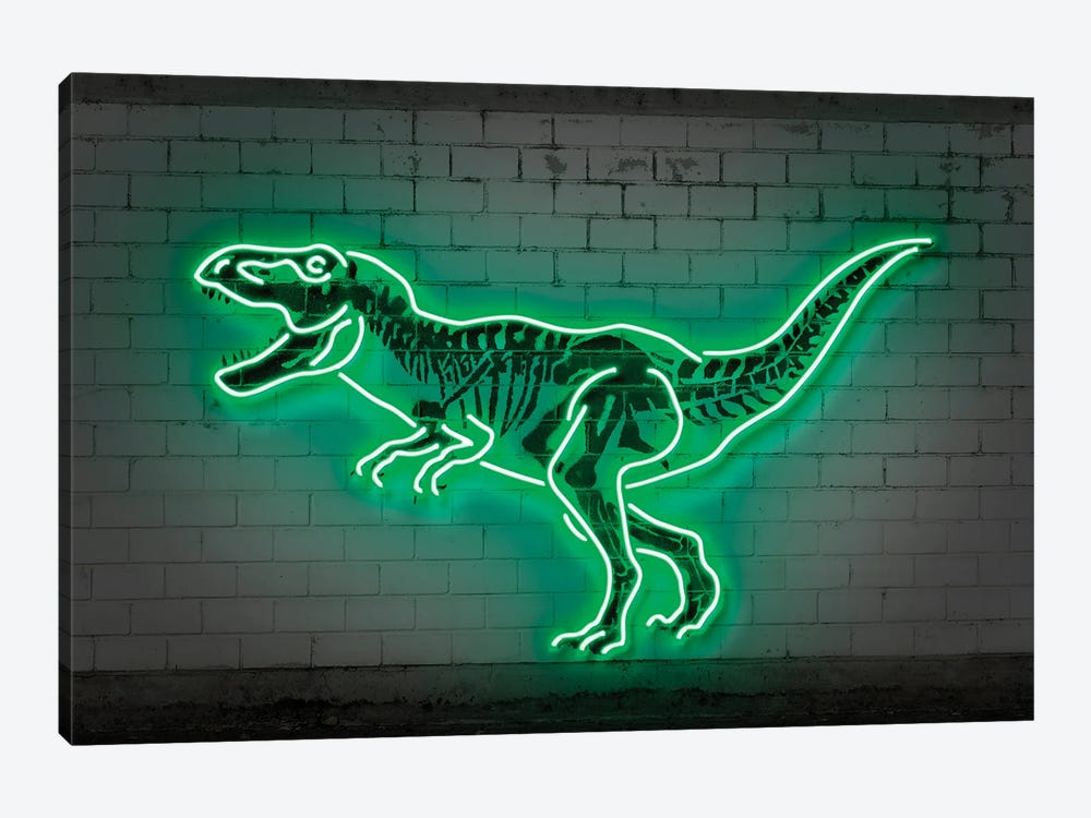 T-Rex Neon by Octavian Mielu 1-piece Canvas Art