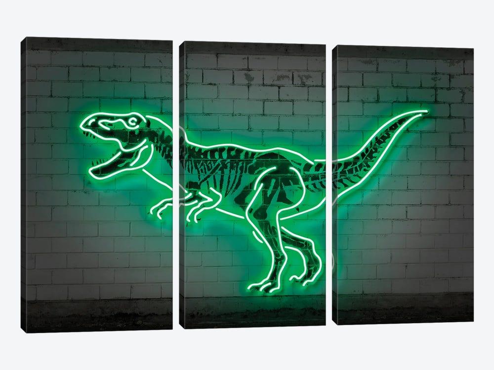 T-Rex Neon by Octavian Mielu 3-piece Canvas Artwork