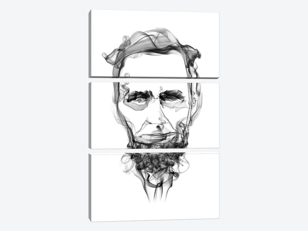 Abraham Lincoln by Octavian Mielu 3-piece Canvas Art Print