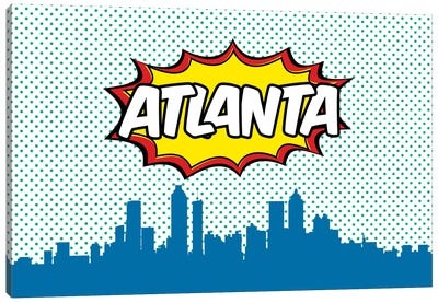 Comic Book Skyline Series: Atlanta Canvas Art Print