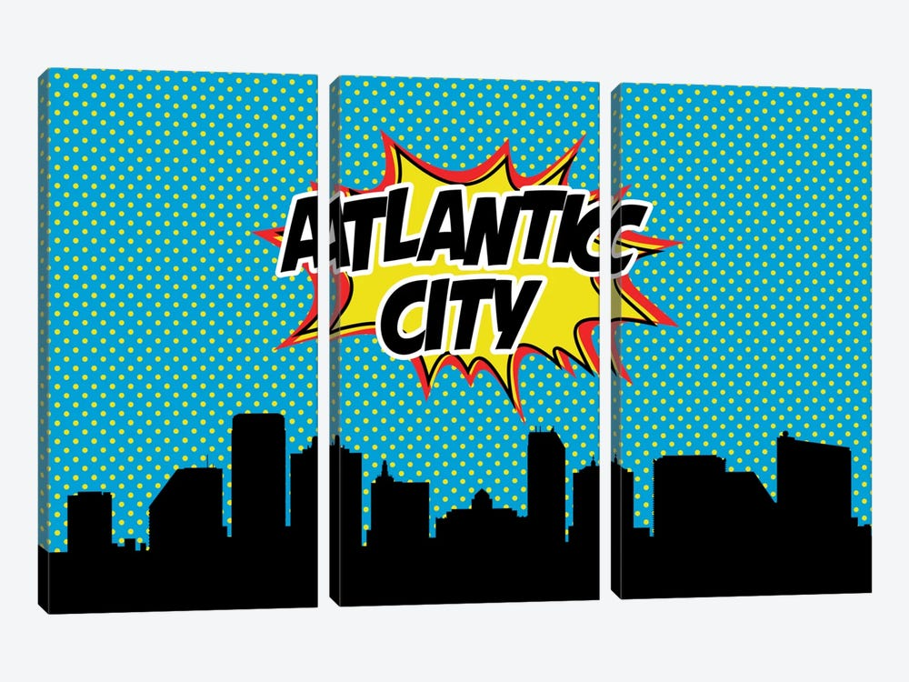 Comic Book Skyline Series: Atlantic City by Octavian Mielu 3-piece Canvas Wall Art