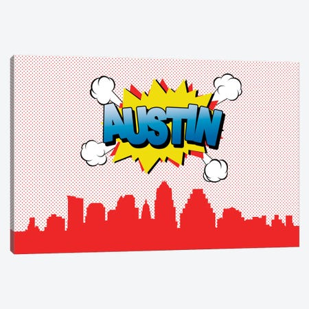 Comic Book Skyline Series: Austin Canvas Print #OMU61} by Octavian Mielu Canvas Artwork