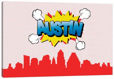 Comic Book Skyline Series: Austin Canvas Art Print