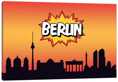 Comic Book Skyline Series: Berlin Canvas Print #OMU62