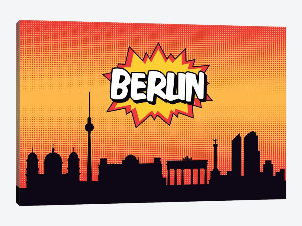 Comic Book Skyline Series: Berlin 1-piece Canvas Wall Art