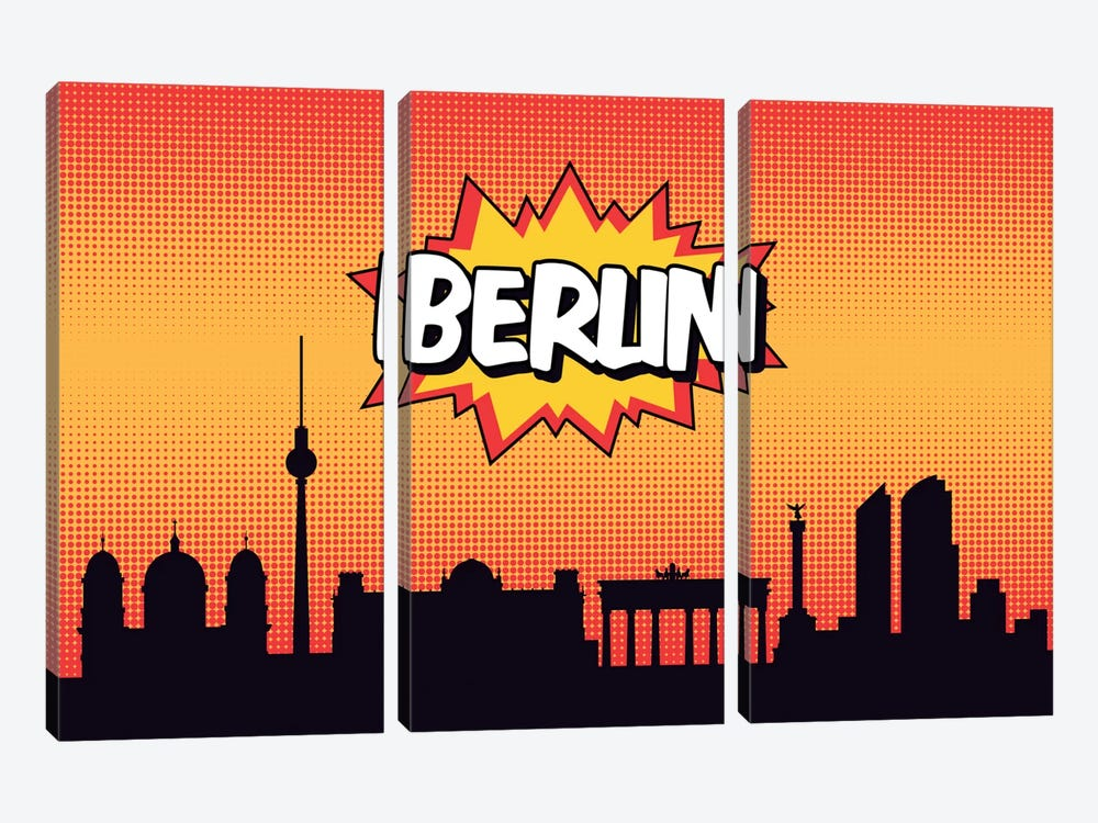 Comic Book Skyline Series: Berlin 3-piece Canvas Artwork