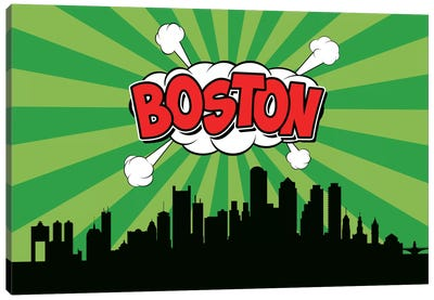 Comic Book Skyline Series: Boston Canvas Art Print