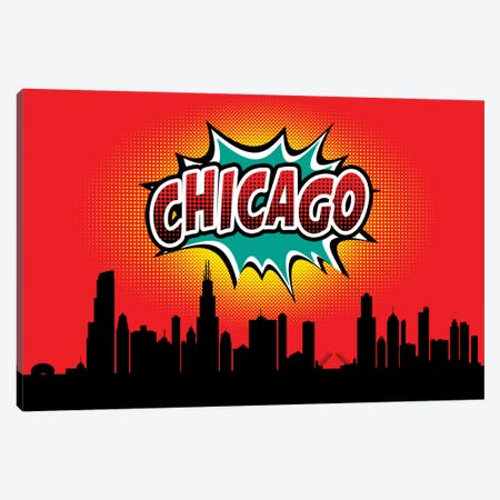 Comic Book Skyline Series: Chicago Canvas Print #OMU64} by Octavian Mielu Canvas Art Print