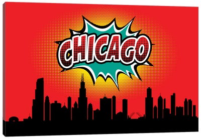 Comic Book Skyline Series: Chicago Canvas Art Print