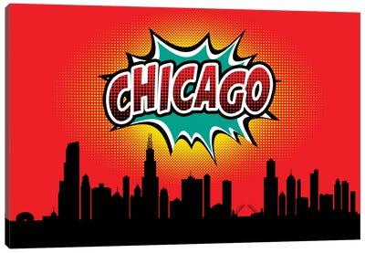 Comic Book Skyline Series: Chicago Canvas Print #OMU64