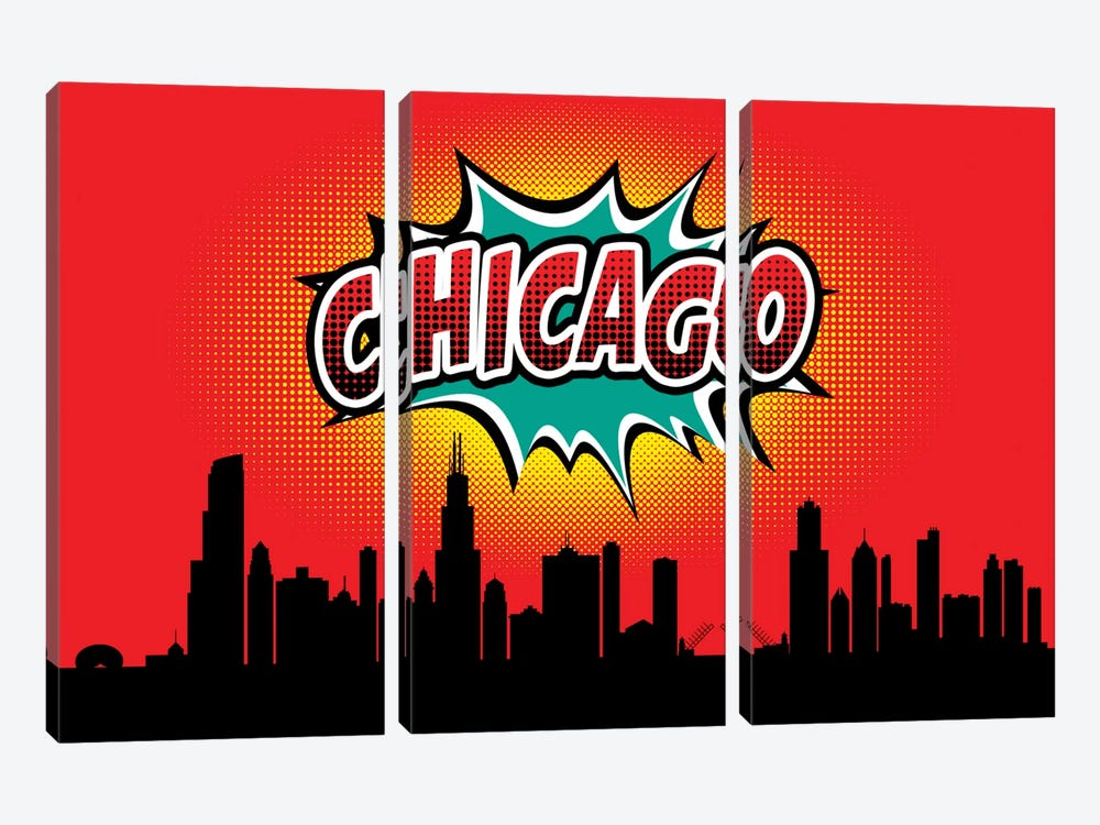 Comic Book Skyline Series: Chicago 3-piece Canvas Wall Art
